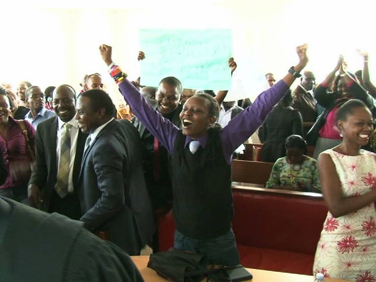 One of the petitioners Jacqueline Kasha Nabagesera jubilates after the ruling